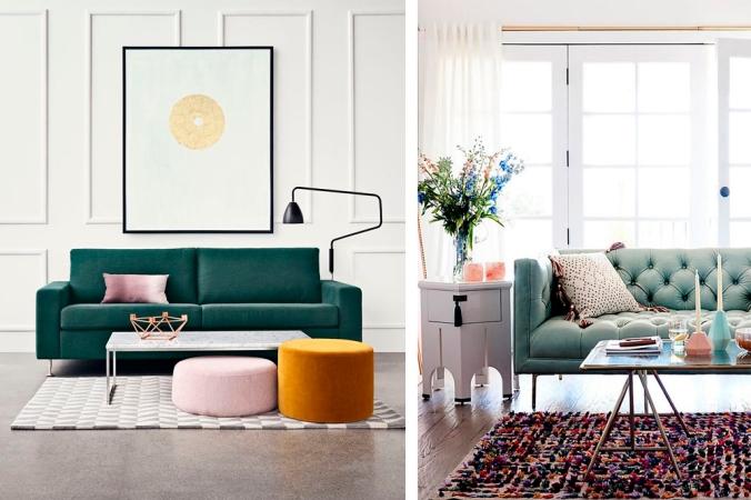 sofá verde decoração